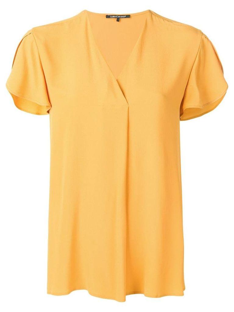Luisa Cerano shortsleeved V-neck blouse - Yellow