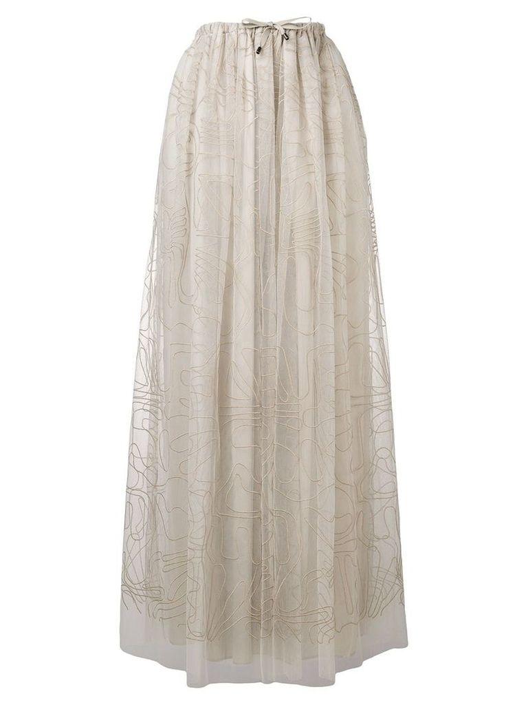 Brunello Cucinelli embroidered tulle skirt - Neutrals