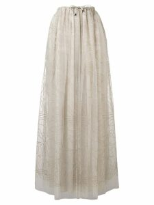 Brunello Cucinelli embroidered tulle skirt - Neutrals