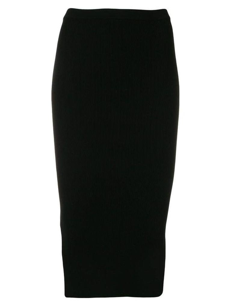 Rick Owens side slit mid-length skirt - Black