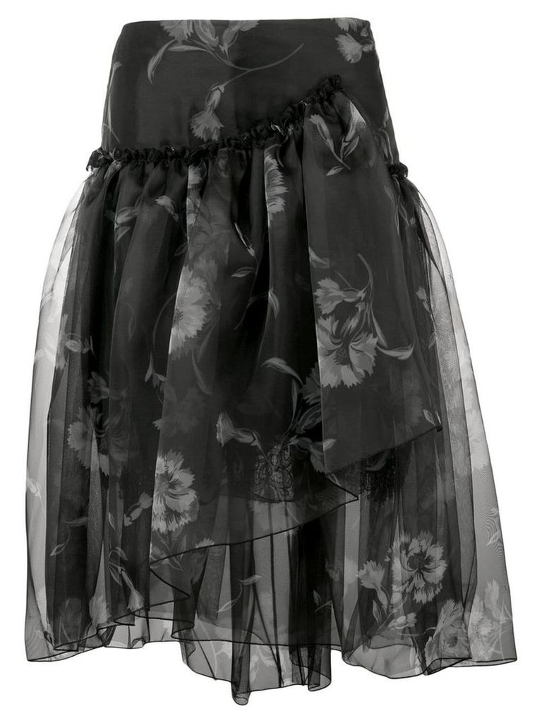 Ermanno Scervino floral print full skirt - Black