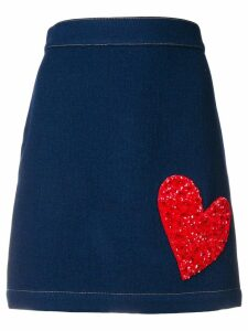 HOUSE OF HOLLAND X THE WOOLMARK COMPANY embellished heart skirt - Blue