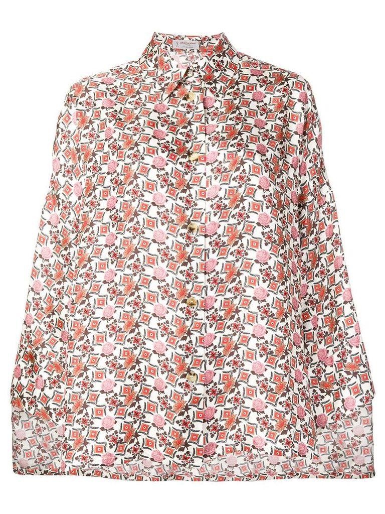 Alberto Biani floral print cape - Neutrals