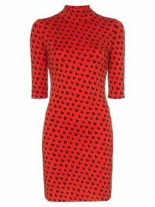 HOUSE OF HOLLAND x THE WOOLMARK COMPANY heart print high neck fitted
