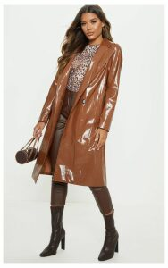 Tan Croc PU Trench, Brown