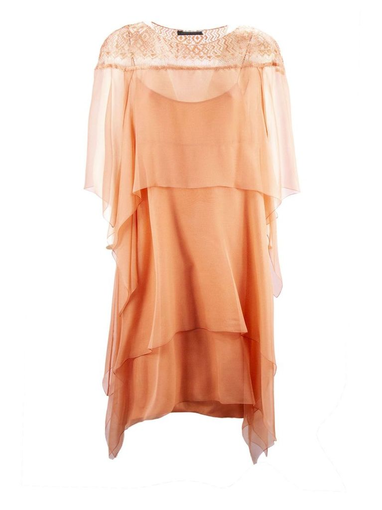 Alberta Ferretti Peach-tone Chiffon Dress With Flounces