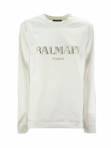 Balmain White And Gold Cotton Sweatshirt