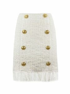 Balmain Short White Tweed Skirt
