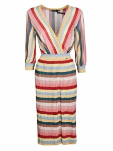 Elisabetta Franchi Celyn B. Striped Print V-neck Dress