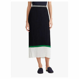 Ralph Lauren Thelonia Pleated Skirt, Navy/Multi