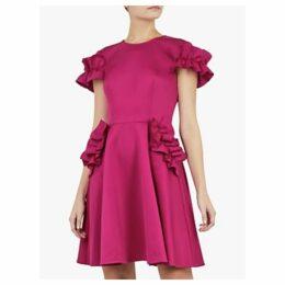 Ted Baker Luuciee Ruffle Detail Skater Dress, Deep Pink