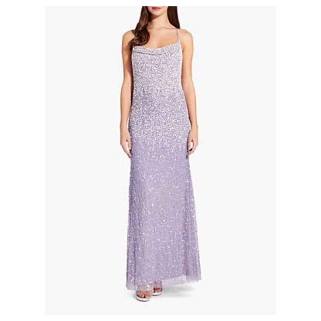 Adrianna Papell Spaghetti Strap Bead Dress, Lilac Grey