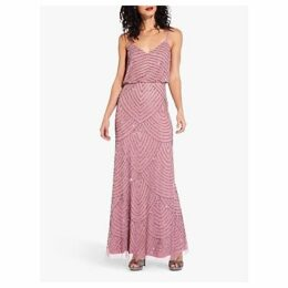 Adrianna Papell Beaded Pattern Maxi Dress, Rose/Mercury