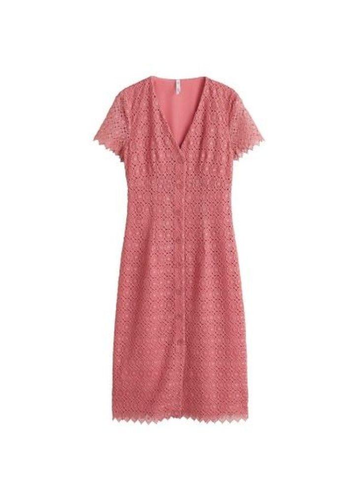 Buttoned guipure dress