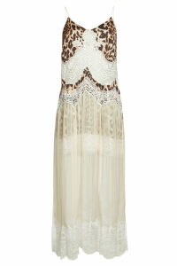 Paco Rabanne Animal Print Slip Dress with Lace