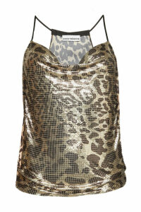 Paco Rabanne Animal Print Top with Chainlink Embellishment