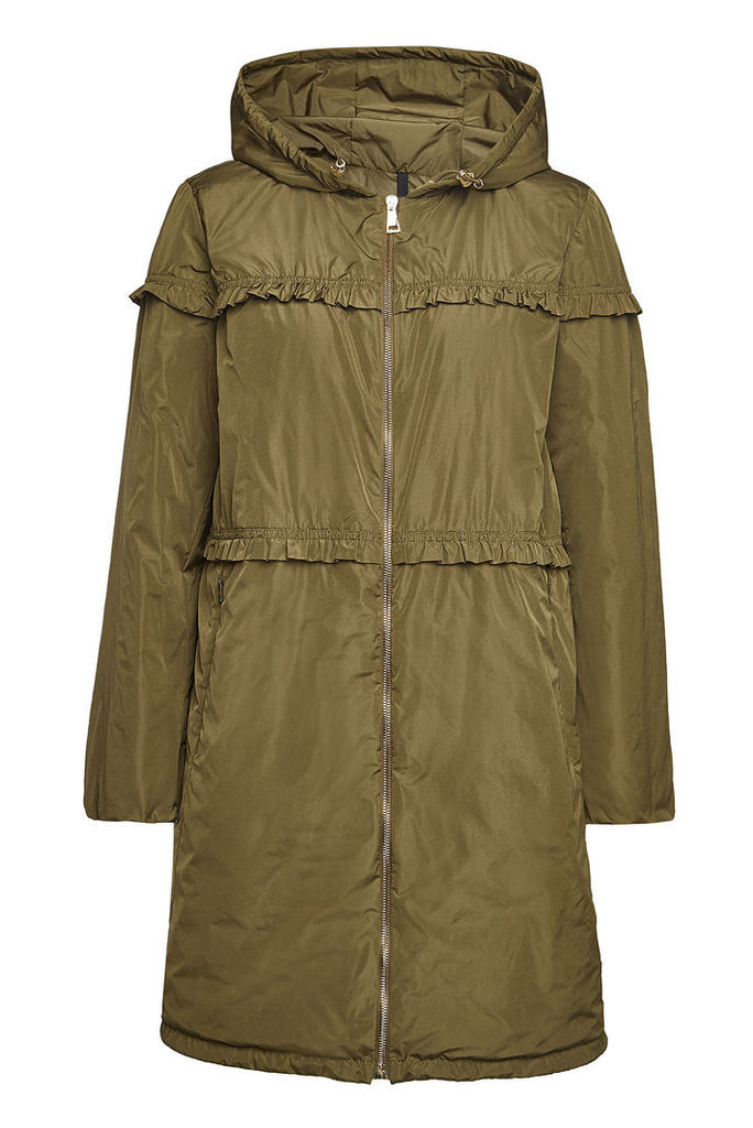 Moncler Luxembourg Down Coat with Ruffles