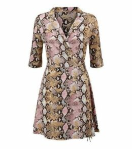 Blue Vanilla Pink Snake Print Wrap Dress New Look