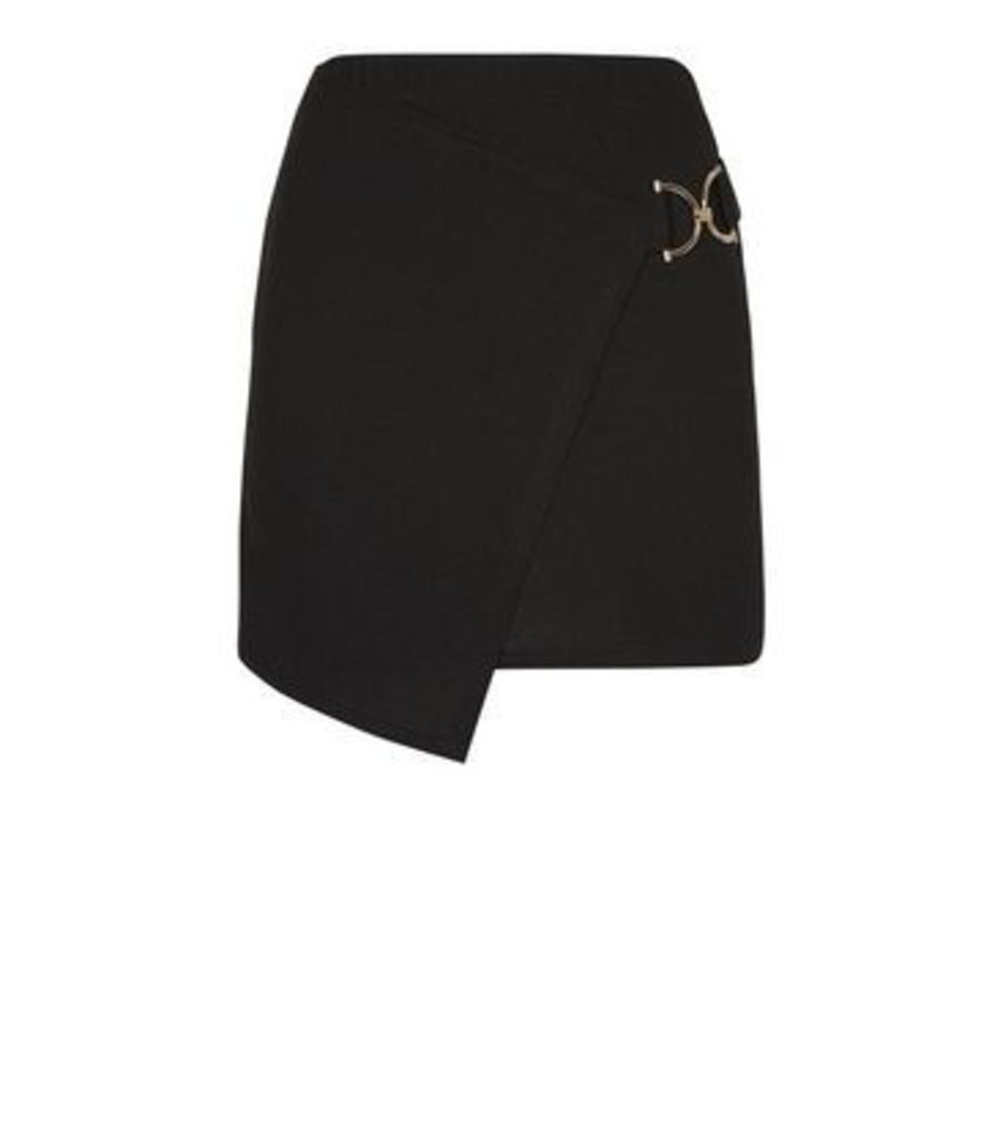 Cameo Rose Black Buckle Wrap Skirt New Look
