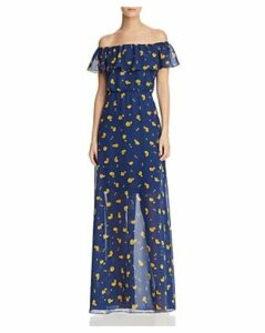 Betsey Johnson Marigold Buds Off-the-Shoulder Maxi Dress