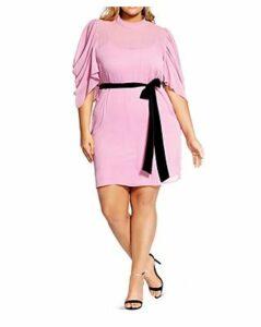 City Chic Plus Embrace Draped-Sleeve Dress