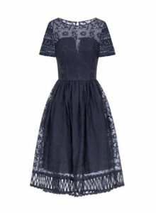 Womens *Chi Chi London Navy Crochet Midi Skater Dress- Navy, Navy