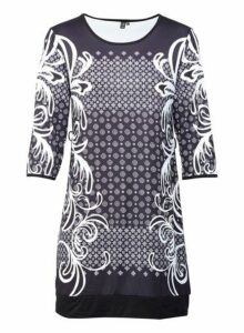Womens *Izabel London Multi Colour Baroque Print Shift Dress- Black, Black