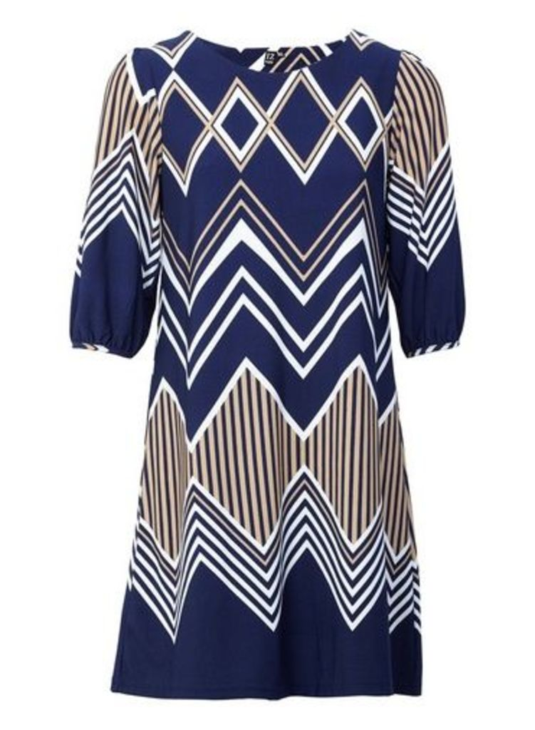 Womens *Izabel London Multi Colour Chevron Print Shift Dress- Multi Colour, Multi Colour
