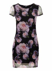 Womens *Izabel London Black Floral Print Bodycon Dress- Multi Colour, Multi Colour