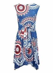 Womens *Izabel London Blue Hanky Hem Tea Dress- Multi Colour, Multi Colour