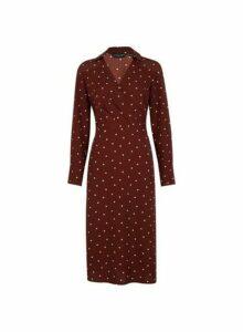 Womens Brown Spot Print Collar Midi Dress- Brown, Brown