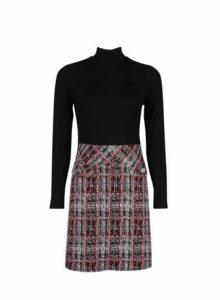 Womens Petite Black 2-In-1 Check Print Dress- Black, Black