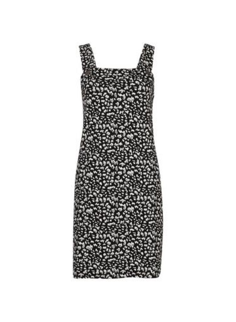 Womens Petite Black Pinafore Dress- Black, Black