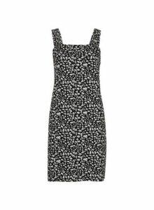 Womens Petite Black Pinafore Dress- Black, Black