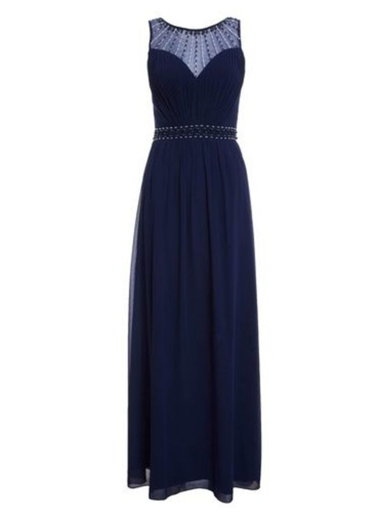 Womens *Quiz High Neck Maxi Dress- Blue, Blue