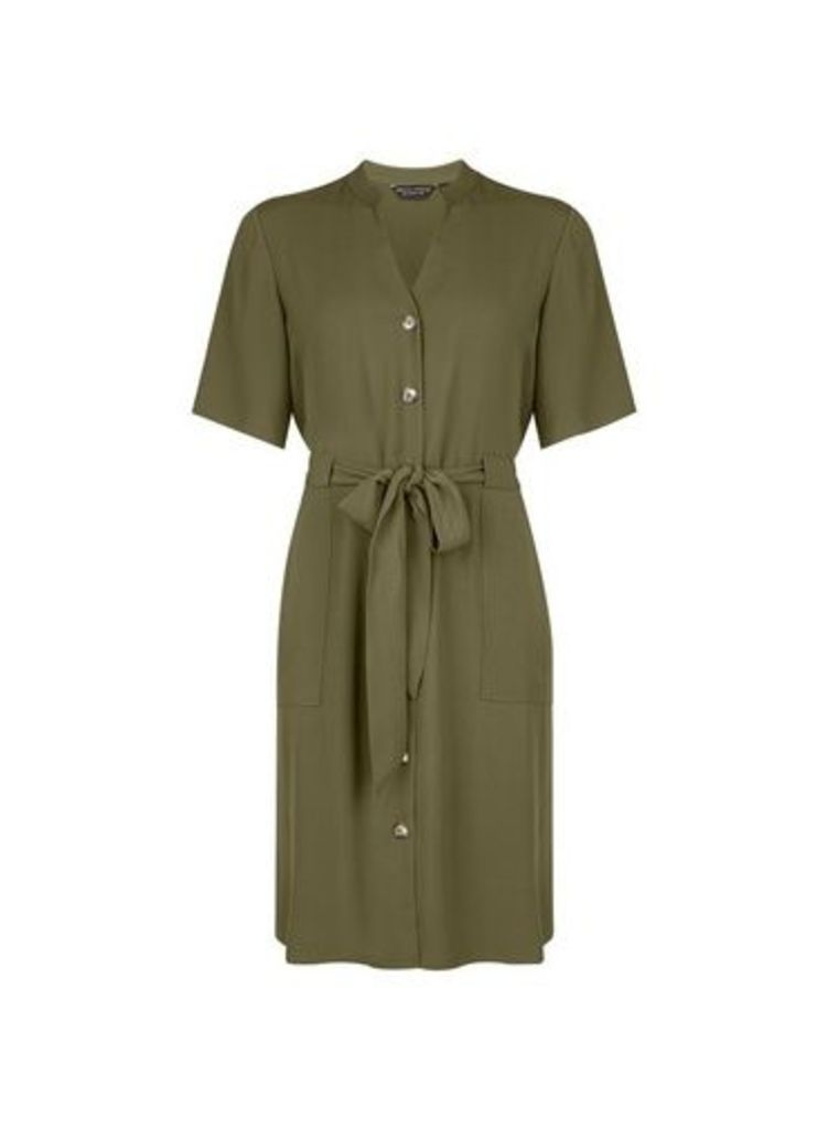 Womens Khaki Notch Neck Shirt Dress- Khaki, Khaki