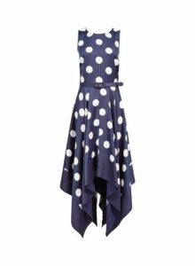 Womens **Luxe Navy Spot Print Hanky Hem Skater Dress- Blue, Blue