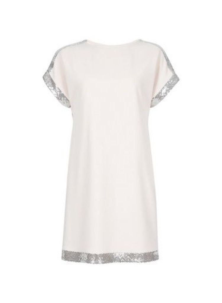 Womens Blush Embellished Shoulder Shift Dress- Pink, Pink