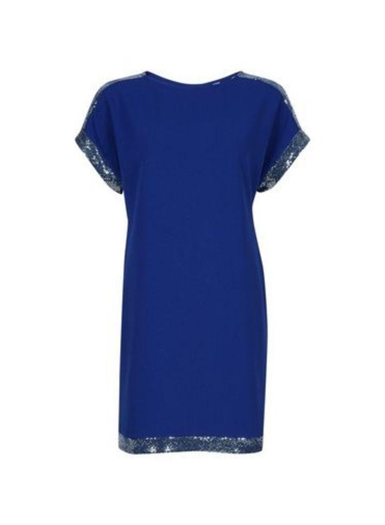 Womens Petite Cobalt Chainmail Shift Dress- Cobalt, Cobalt