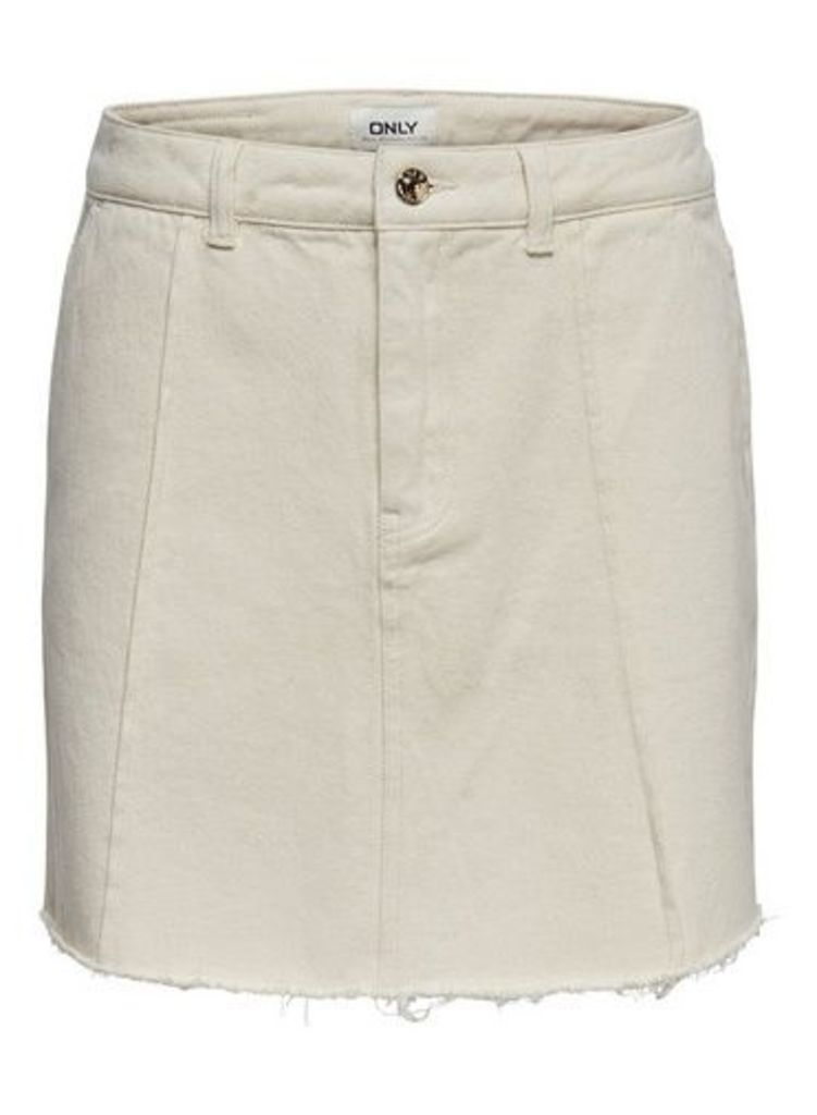 Womens **Only Raw Edge White Denim Skirt- White, White