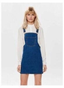 Womens **Only Blue Denim Dungeree Dress- Blue, Blue