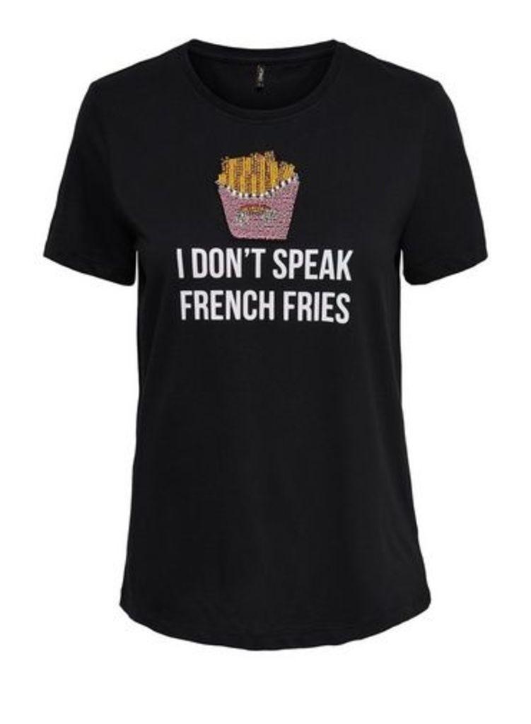 Womens **Only Black 'Speak French' T-Shirt- Black, Black
