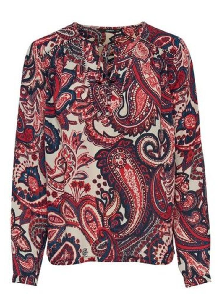 Womens **Only Navy Paisley Print Long Sleeve Blouse- Blue, Blue