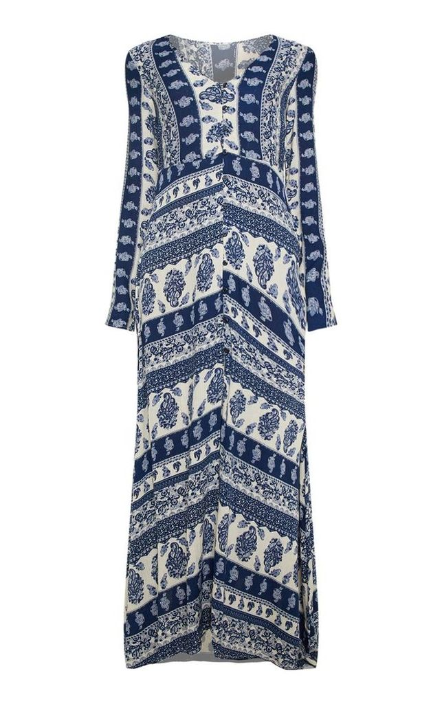 Blue Paisley Print Button Front Maxi Dress, Blue