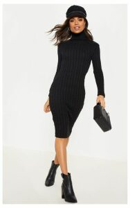 Black Cable Knitted Long Sleeve Dress, Black