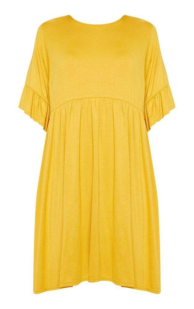 Mustard Short Sleeve Smock Dress, Mustard