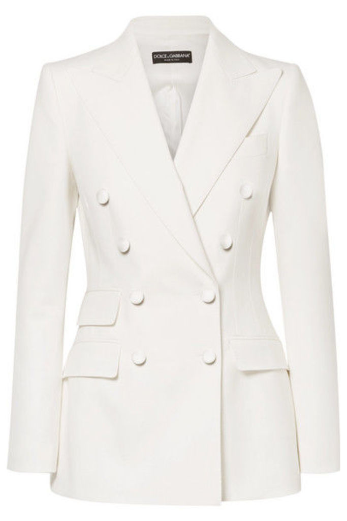 Dolce & Gabbana - Double-breasted Wool-blend Blazer - White