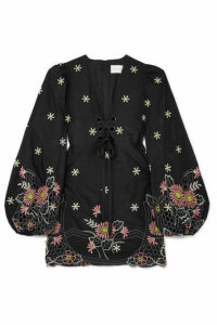 alice McCALL - Honeycomb Daisy Embroidered Cotton And Silk-blend Mini Dress - Black