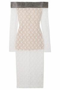 Christopher Kane - Crystal-embellished Off-the-shoulder Stretch-lace Midi Dress - White
