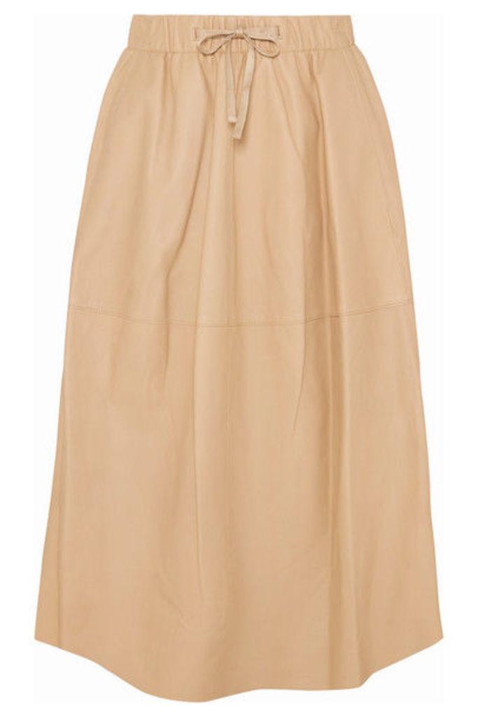 Vince - Leather Midi Skirt - Beige